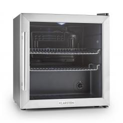 Beersafe L Kühlschrank 47Liter Klasse A+ Glastür Edelstahl silver | 50 Ltr