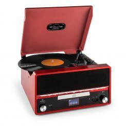 RTT 1922 Retro-Stereoanlage MP3 CD USB UKW AUX Aufnahmefunktion rot Rot