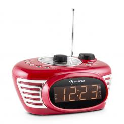 RCR 56 RD Retro Weckerradio Uhrenradio UKW AUX Dual-Alarm rot