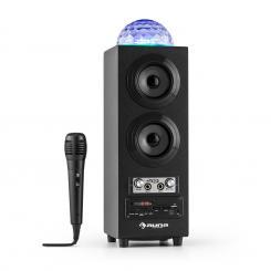DiscoStar Black portabler 2.1-Bluetooth-Lautsprecher USB Akku LED Mikro Schwarz