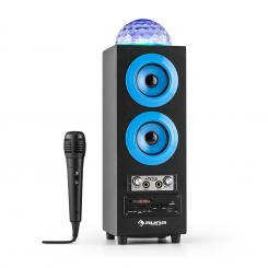DiscoStar Blue portabler 2.1-Bluetooth-Lautsprecher USB Akku LED Mikro Blau