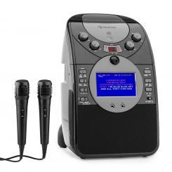 ScreenStar Karaokeanlage Kamera CD USB SD MP3 inkl. 2 x Mikrofon schwarz Schwarz | Ohne CD Set