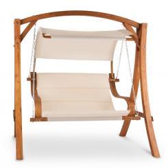 Maui Hollywoodschaukel 110 cm 2-Sitzer Sonnensegel Polyester Lärche Beige