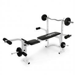 Workout Hero Hantelbank mit Ablage Armcurler Beincurler 160kg metallic