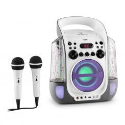 Kara Liquida Karaokeanlage CD USB MP3 Wasserstrahl LED 2x Mikrofon mobil Grau