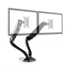 LDT09-C024USB Doppel-Monitor-Tischhalterung LED LCD 2xUSB inkl. Montage-Kit