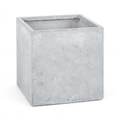 Solidflor Pflanzkübel Pflanzgefäß 50x50x50 cm Fiberton hellgrau Grau | 50 cm
