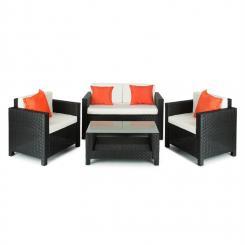 Verona Gartengarnitur 4-teilig Polyrattan Schwarz/Beige/Orange Schwarz/Beige/Orange