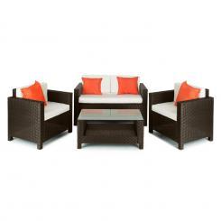 Verona Gartengarnitur 4-teilig Polyrattan Braun/Beige/Orange Braun/Beige/Orange
