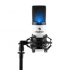 MIC-900-WH-LED USB Kondensator Mikrofon weiß Niere Studio LED Weiß | Schwarz