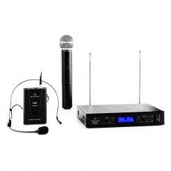 VHF-400 Duo3 2-Kanal VHF-Funkmikrofon-Set 1x Headset + 1x Handmikrofon 1 x Handheld / 1 x Headset-Mikrofon