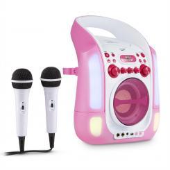 Kara Illumina Karaokeanlage CD USB MP3 LED-Lichtshow 2x Mikrofon mobil pink Pink