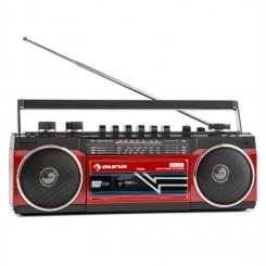 Duke Retro-Boombox tragbarer Kasettenplayer USB SD Bluetooth FM-Radio Rot