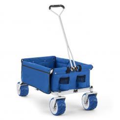 Waldbeck The Blue Bollerwagen Handwagen faltbar 70kg 90l Breiträder 10cm blau Blau
