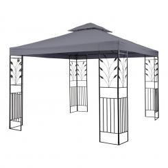 Odeon Grey Pavillon Partyzelt Festzelt 3x3m Stahl Polyester dunkelgrau Grau