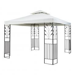 Odeon Beige Pavillon Partyzelt Festzelt 3x3m Stahl Polyester hellbeige Beige
