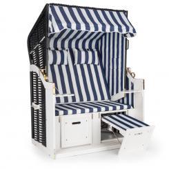 Hiddensee Strandkorb XL 2-Sitzer Volllieger blau / weiß gestreift Blau