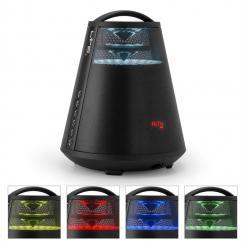 FREESOUND65 Bluetooth-Lautsprecher Akku 360° Sound LED AUX USB UKW schwarz Schwarz