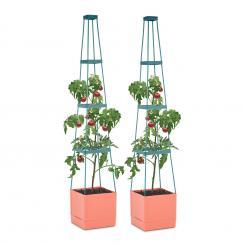 Tomato Tower Tomaten-Pflanzkübel 2er-Set 25x150x25cm Rankhilfe PP