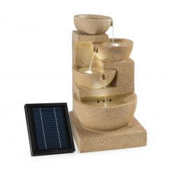 Korinth Zierbrunnen Gartenbrunnen 3W Solar LED Sandsteinoptik