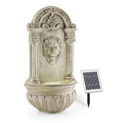 Löwenstein Wandbrunnen Gartenbrunnen Solar 2W LED Polyresin Steinoptik