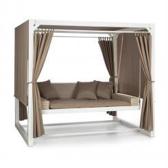 Eremitage Luxus-Hollywoodschaukel 236x180x210cm weiß/taupe Weiß