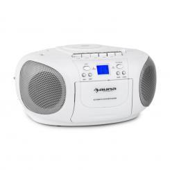 BoomBerry Boom Box Ghettoblaster Radio CD/MP3-Player Kassettenplayer weiß Weiß