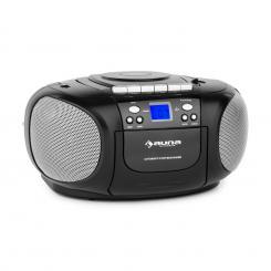 BoomBoy Boom Box Ghettoblaster Radio CD/MP3-Player Kassettenplayer schwarz Schwarz