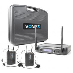 WM73H 2-Kanal-UHF-Funkmikrofon System 2xTaschensender mit Headset