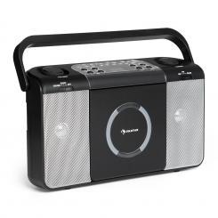 Boomtown USB CD-Player UKW Radio MP3 tragbar Kofferradio Boombox Schwarz