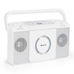 Boomtown USB CD-Player UKW Radio MP3 tragbar Kofferradio Boombox Weiß