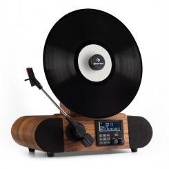 Verticalo DAB Retro-Plattenspieler DAB+ UKW-Tuner USB BT AUX Wecker