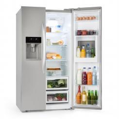 Grand Host XXL Kühlschrank 550 Liter Eis- und Wasserspender A+ silber Silber