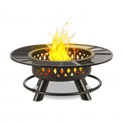 Rosario 3-in-1-Feuerschale Ø120cm | 70cm Grill | Tischplatte Stahl