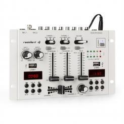 22BT 2CH Mixer 3/2-Kanal-DJ-Mischpult 2x USB 3x 6,3 Klinke weiß Weiß