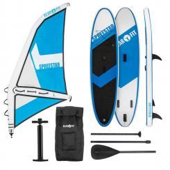 Spreestar WL aufblasbares Paddelboard SUP-Board-Set Windsurfboard 5,2 m² 300x10x71 blau-weiß L
