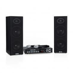 Karaoke Star 4 Karaoke-Set, 2 x 80 W max., BT, USB-Port, 2 x Mikro kabellos Schwarz | Karaoke Star 4: 2 x 80 W / 2 Funk-Mikro