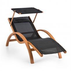 Acapulco Gartenliege mit Dach ComfortMesh Belastbarkeit: 150kg schwarz Schwarz