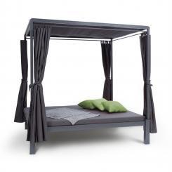Senator Lounge Gartenliege 188x208x205cm Sonnendach Polyester Stahl grau Grau