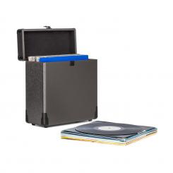 Vinylbox Alu Plattenkoffer für bis zu 30 Schallplatten Klappdeckel schwarz Schwarz