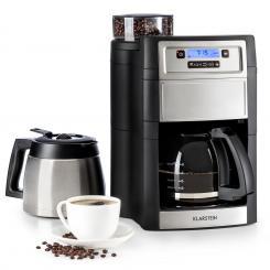 Aromatica II Duo Kaffeemaschine, integriertes Mahlwerk, 1,25 l schwarz silver | Glas- & Thermoskanne