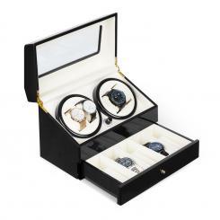 Geneva Uhrenbeweger 4 Uhren 4 Modi Schubfach schwarz Schwarz