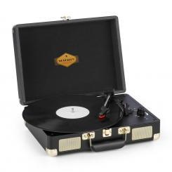 Peggy Sue Plattenspieler Stereolautsprecher USB-Anschluss schwarz/gold Schwarz / Gold