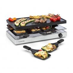 Gourmette Raclette 1200W Aluminium-Grillplatte 8 Personen Edelstahl Grillplatte