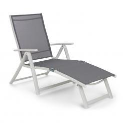 Pomporto Lounge Liegestuhl PVC PE Aluminium 7-Stufen weiß/hellgrau Weiß/hellgrau
