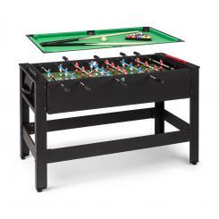 Spin 2-in-1 Spieletisch Billard Kicker 180° drehbar Spielzubehör Schwarz