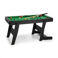Trickshot Spieltisch Billard 140x64,5 16 Kugeln 2 Queues MDF klappbar schwarz Schwarz