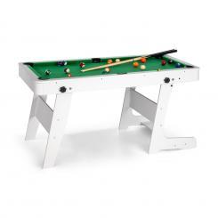 Trickshot Spieltisch Billard 140x64,5cm 16 Kugeln 2 Queues MDF klappbar weiß Weiß
