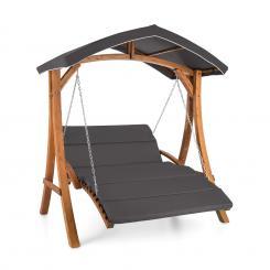 Aruba Hollywoodschaukel Sonnendach 130cm 2-Sitzer Massivholz Grau Grau