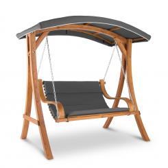 Tahiti Hollywoodschaukel Sonnendach 110cm 2-Sitzer Massivholz Grau Grau